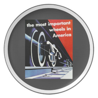 Railroads-Most Important Wheels in America Dinner Plate