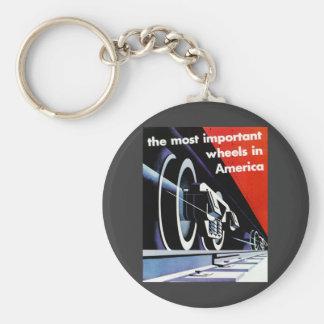 Railroads-Most Important Wheels in America Keychain
