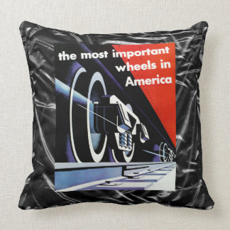 Railroads-Most Important Wheels in America Throw Pillow