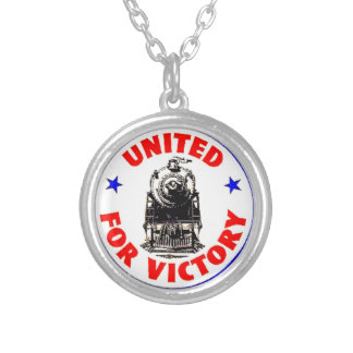 Railroads United For War Effort 1940 Silver Plated Necklace