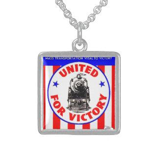 Railroads United For War Effort 1940 Square Pendant Necklace