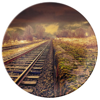 Railway autumn scenery porcelain plates