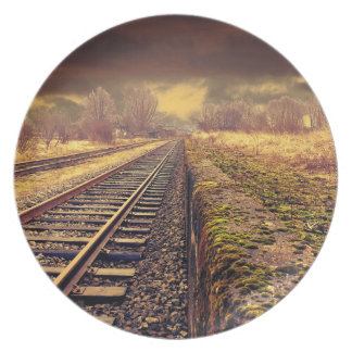 Railway autumn scenery party plates