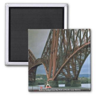 Railway bridge over the Firth of Forth near Edinbu 2 Inch Square Magnet