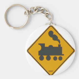 Railway Crossing Road Sign Basic Round Button Keychain