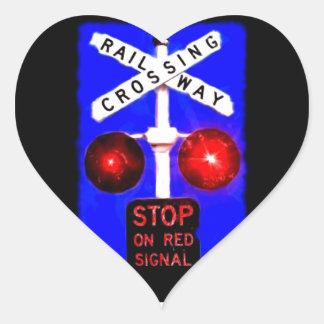 Railway Crossing Signal Heart Sticker