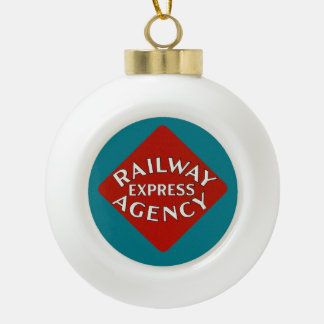 Railway Express Agency Ceramic Ball Christmas Ornament