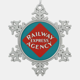 Railway Express Agency Snowflake Pewter Christmas Ornament