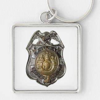 Railway Express Police Badge Keychain