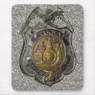 Railway Express Police Badge Mouse Pad