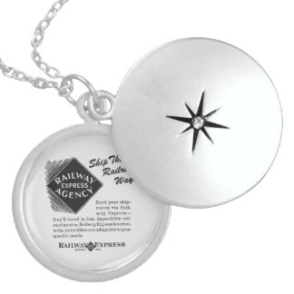 Railway Express; Ship The Railroad Way Round Locket Necklace