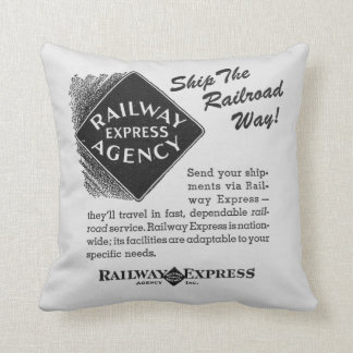 Railway Express; Ship The Railroad Way Throw Pillow
