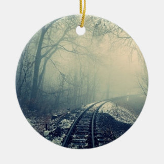 Railway going into mist Double-Sided ceramic round christmas ornament