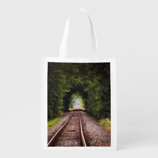 Railway green beautiful scenery reusable grocery bag