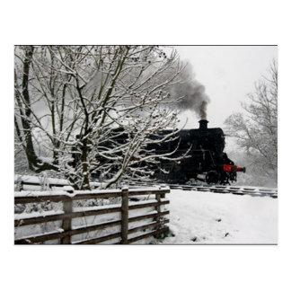 Railway in Snow Postcard