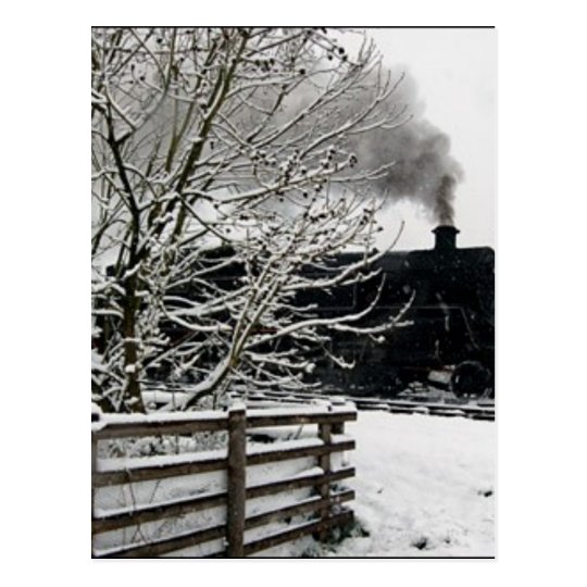 Railway in Snow Postcard