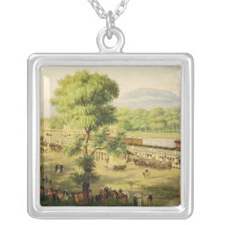 Railway in the Valley of Mexico, 1869 Square Pendant Necklace