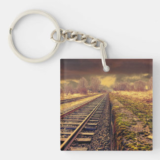 Railway Double-Sided Square Acrylic Keychain