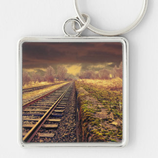 Railway Silver-Colored Square Keychain