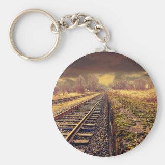 Railway Basic Round Button Keychain