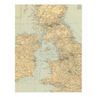 Railway map, British Isles Postcard