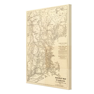 Railway map New England States Canvas Print