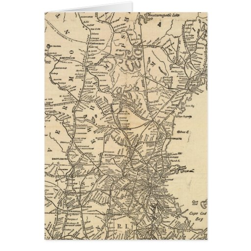 Railway map New England States Greeting Card