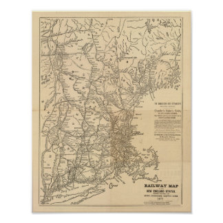 Railway map New England States Poster