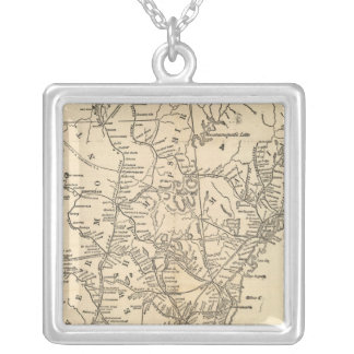 Railway map New England States Square Pendant Necklace