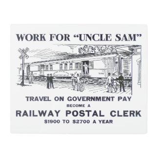 Railway Postal Clerk 1926 Metal Photo Print