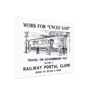Railway Postal Clerk 1926 Wrapped Canvas Poster Canvas Print