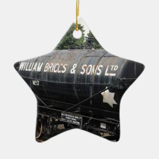 Railway scene - tankers - vintage ceramic ornament