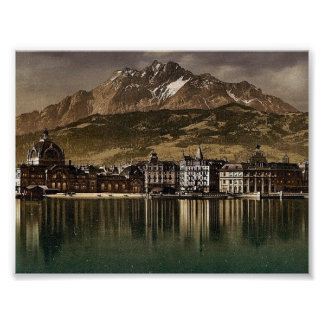 Railway station and Pilatus by moonlight, Lucerne, Poster