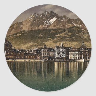 Railway station and Pilatus by moonlight Lucerne Sticker
