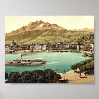 Railway station and Pilatus, Lucerne, Switzerland Print
