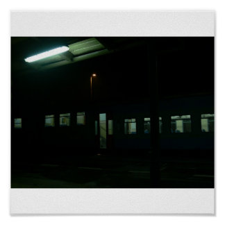 Railway station in the Night Poster