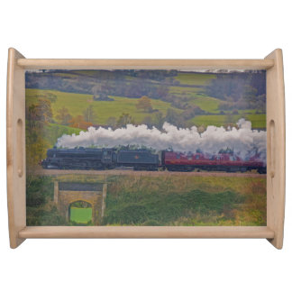 Railway Steam Train for Trainspotters Art II Serving Tray
