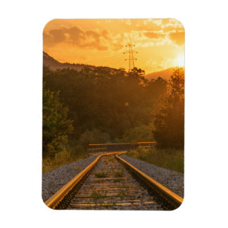 Railway sunset scenery magnet