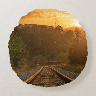 Railway sunset scenery round pillow