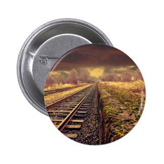 Railway track 2 inch round button