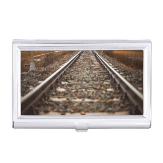 Railway track in sunny weather case for business cards