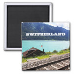 Railway track in Swiss 2 Inch Square Magnet