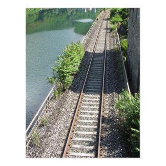 Railway tracks along the river postcard