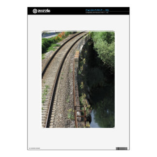 Railway tracks along the river Serchio near Lucca iPad Decals