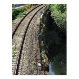 Railway tracks along the river Serchio near Lucca Postcard
