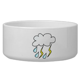 Rain and Lightning in Thunderstorm Pet Food Bowls
