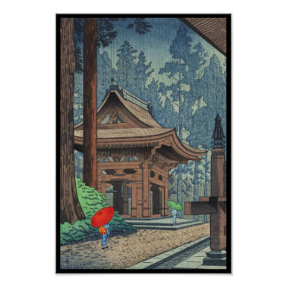 Rain at Enryakuji Temple Asano Takeji shin hanga Poster