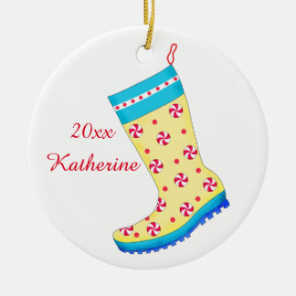 Rain Boot Shoe Lover Christmas Stocking Name Double-Sided Ceramic Round Christmas Ornament