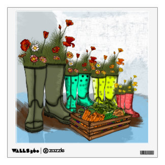 Rain Boots Vegetables And Flower Decal Wall Sticker