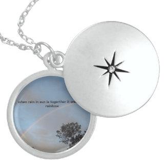 rain bow neckles round locket necklace